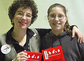 Denise Rodgers with Brittany, an enthusiastic young writer she met during a school visit.